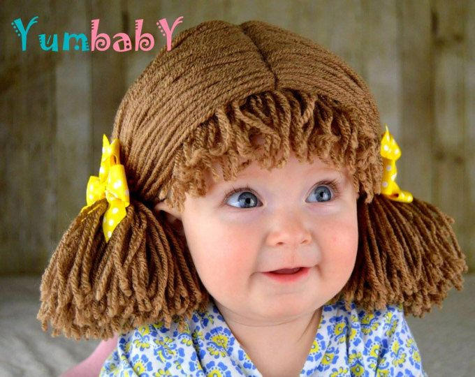 Col parche peluca coleta bebé sombrero de la gorrita tejida marrón pelucas