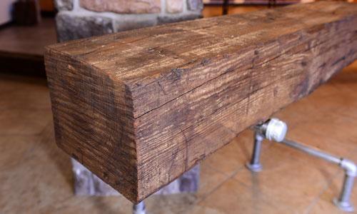 Rough Sawn Beam Fireplace Mantel 8 X 10 X 56 Walnut Wax Finish Elmwood Reclaimed Timber