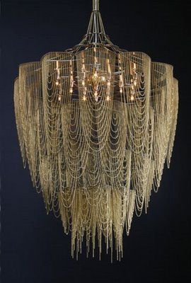 Chandelier made from draped chain, ABSOLUTELY GORGEOUS... AND mysterious...sexy and dreamlike