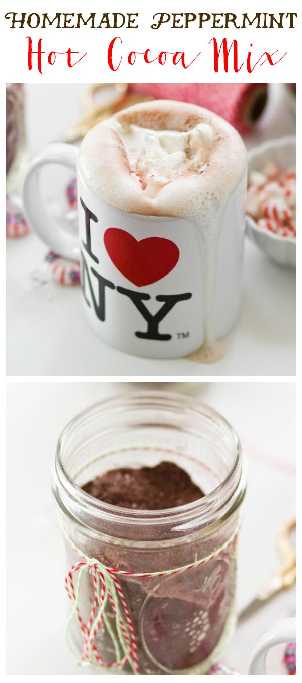 Homemade Peppermint Hot Cocoa Mix -- just add boiling water for homemade hot cocoa! This is so fun for gifting and makes a ton!!