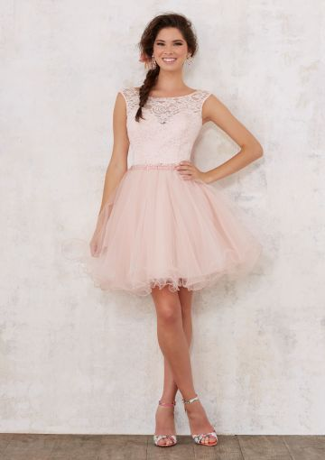 Cheap and Australia 2018 Lace Up A-line Tulle Beads Short Length Sleeveless Jewel Pink Ivory Prom / Cocktail Dresses 9443 from En.dresses4Australia.com.au
