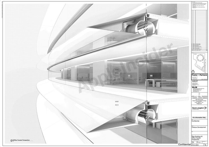 """Leaked image shows architecture plans for Apple's 'spaceship' campus. The image provided to AppleInsider on Friday is labeled as """"confidential"""" and identified as """"Main Building A3 Office Facade Perspective."""" The project name is """"Campus Development."""""""
