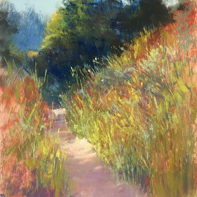 Spent some time yesterday painting this scene from @palodurocanyonsp Ive spent entire summers in this place and it never fails to greet me with beauty. 12x12 pastel on paper