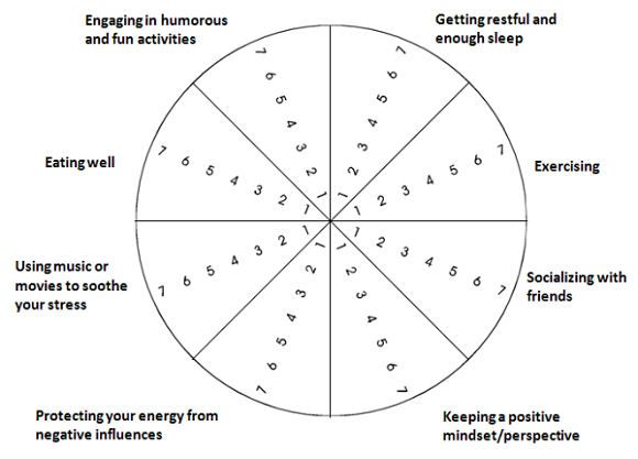 Trace A Line Through Each Area On The Self Care Wheel To