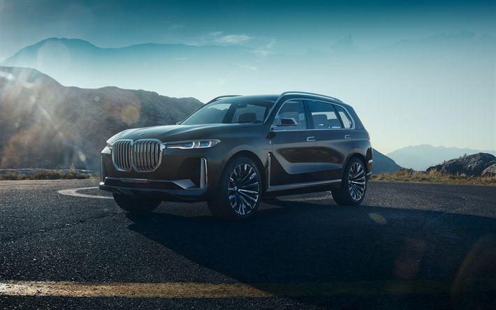 Download wallpapers 4k, BMW Concept X7 IPerformance, SUVs, 2017 cars, BMW X7, german cars, BMW