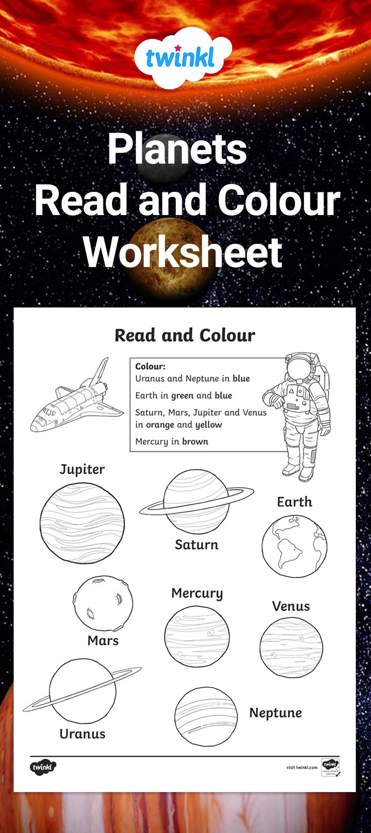 Planet Read And Colour Activity Color Worksheets Kindergarten Worksheets Planets [ 1650 x 735 Pixel ]