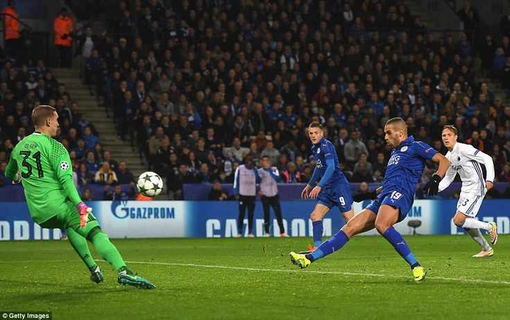 After being played through by Marc Albrighton, Slimani saw his initial effort brilliantly saved by Olsen
