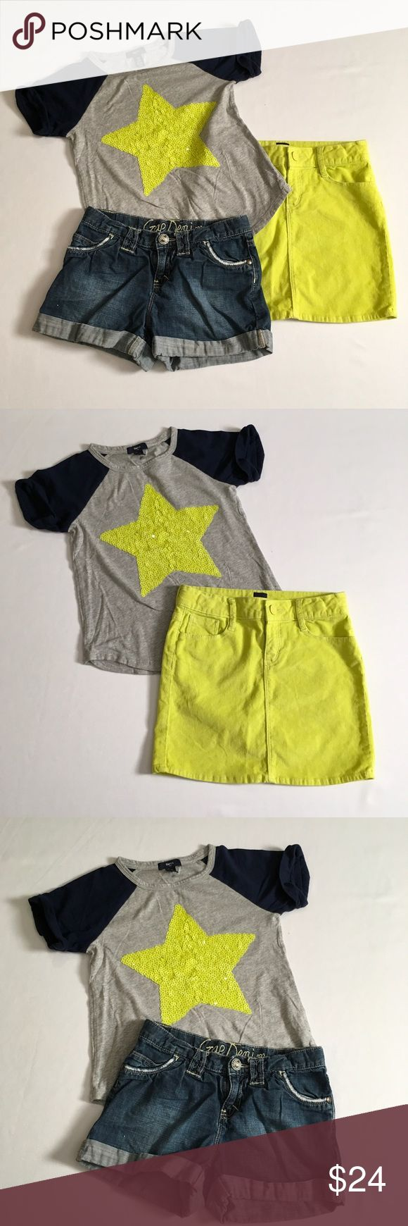 "Adorable GAP Girls Bundle Adorable 3pc Gap bundle  - GAP Top NWOT Grey & Navy with bright yellow sequin star, 100% cotton , rounded tail size 8/9 years loose fit - Gap NWOT mini skirt, very thin line corduroy. 98% cotton and 2% spandex, 5 pocket. Size 10, waist 25"" around & length from top of skirt to bottom of hem 13"" - Gap Distressed Denim Shorts, 5 pockets, adjustable waistband, rolled bottom cuff, waist 25"" around, inseam 3""  Selling as a bundle only  EUC Non smoking environment No…"