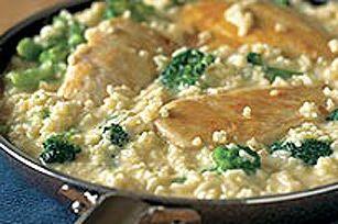 Brocoli, riz et poulet au fromage