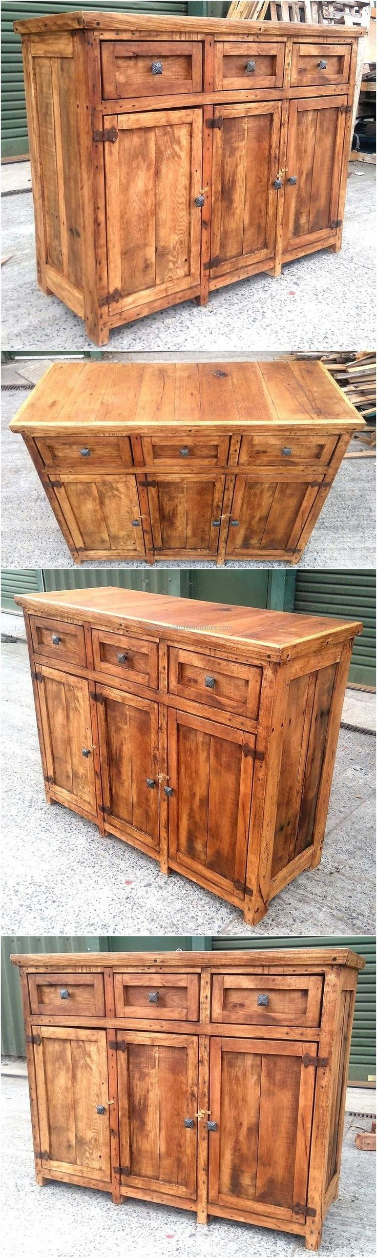 A different idea to create the wood pallet chest of drawers, this idea contains the small as well as big drawers. The items of different sizes can be placed in it and the decorative items placed over the rustic look chest of drawers will make the area look attractive.