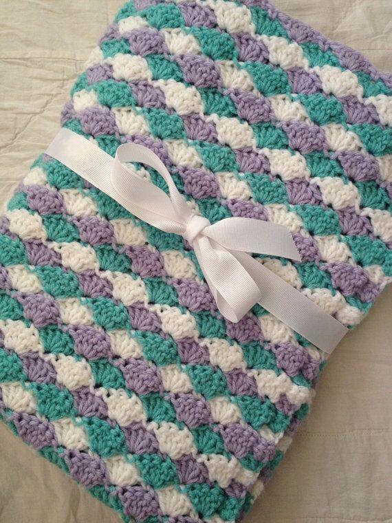 Shell baby blanket crochet lavender aqua white blanket by KK13, $25.00