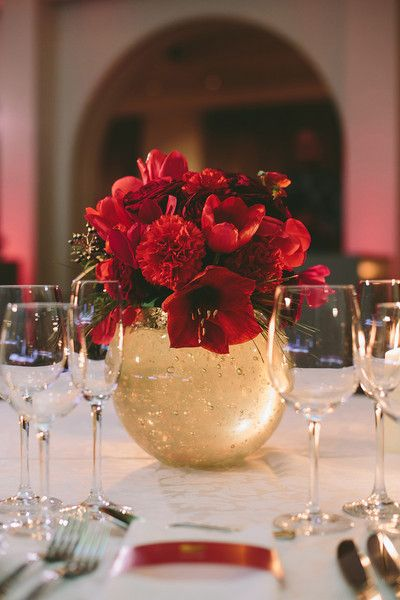 Petite red flower arrangement in rose gold bowls - Black Magic roses, red tulips, red carnations and more! {Asfis Photography}