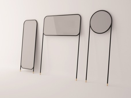 La Mamba studio will be bringing this great range of leaning mirrors to Zona Tortona for the Salone del Mobile in Milan next month. Made with steel tubes and painted in a range of primary colours, (as well as black, white and gray) they're designed to lean against a wall supported on long tubular legs with cork feet.