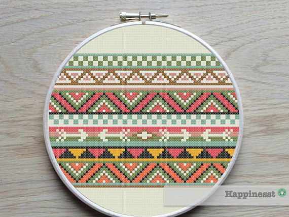 cross stitch borders pattern aztec inspired PDF by Happinesst