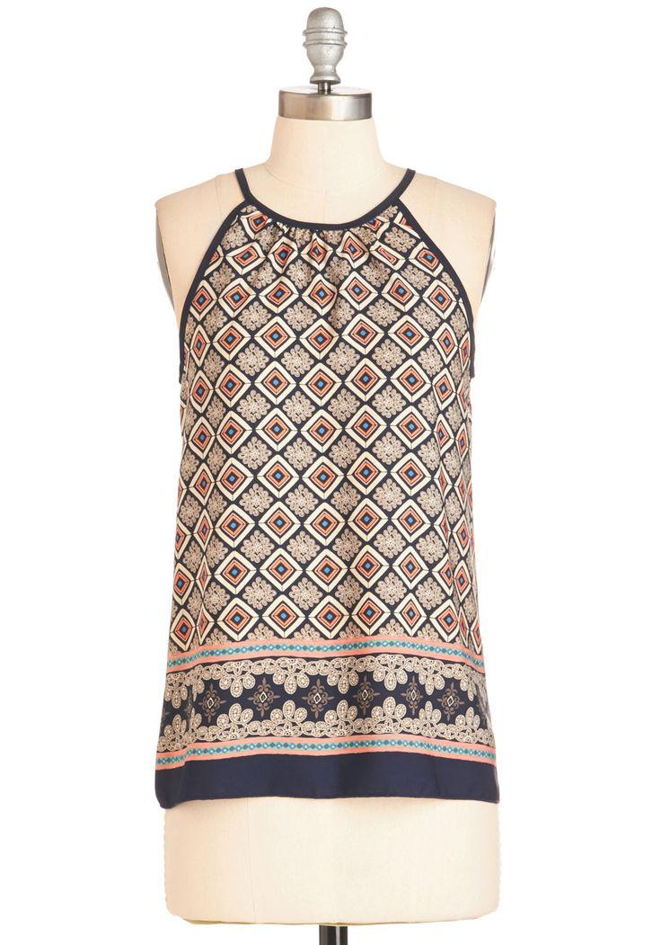 That?s Just My Tile Top. The second you slip into this tiled, geometric-print top, you know it must be fashionable fate. #multi #modcloth