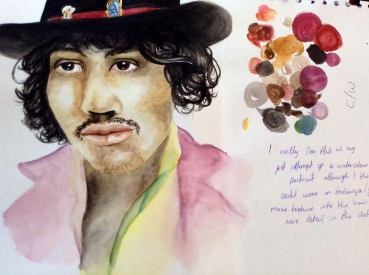 Jimi Hendrix, watercolour sketchbook study.