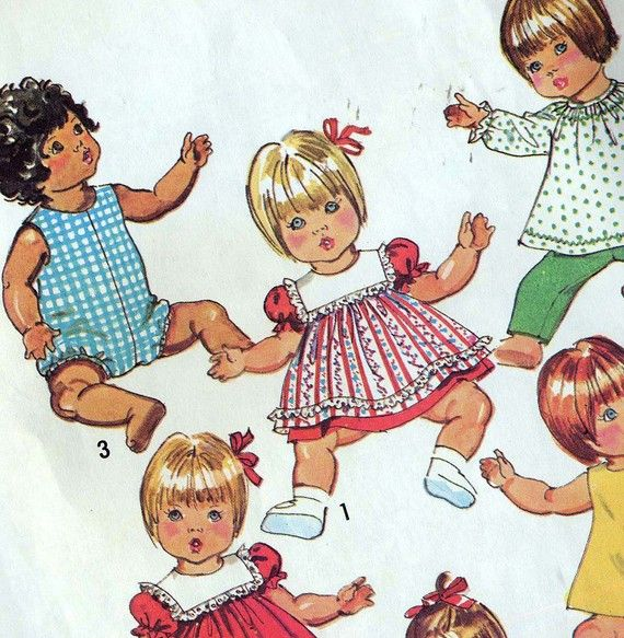 Baby Doll Clothes Vintage Simplicity Pattern 5947 Betsy Wetsy Dy-Dee Babybeans 1970s Dolls. HA! I own this pattern still!