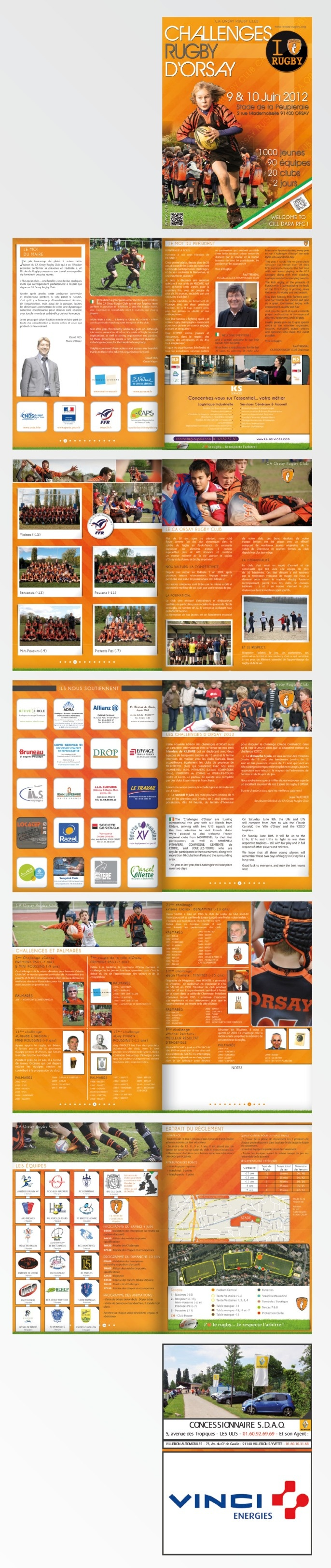 #Plaquette / #Brochure #Rugby 12 pages pour le CA ORSAY RUGBY CLUB - #Orsay (91, France) - Challenges 2012