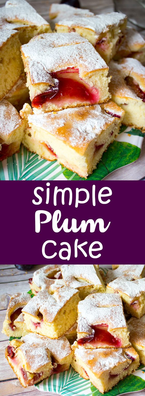 A simple summer plum cake, moist, fluffy and filled with juicy plums.