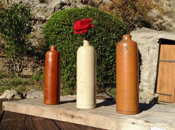 3 Antique STONEWARE Ceramic BOTTLES French & by FrenchMarketFinds