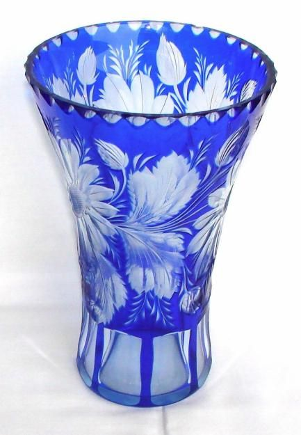 Antique Blue Cut To Clear Glass Vase
