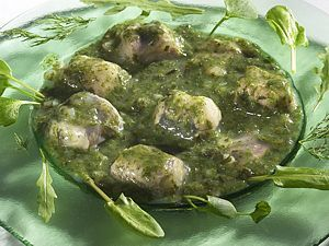 Paling in't groen: traditional Flemish dish which is made of eels with herbs and vegetables