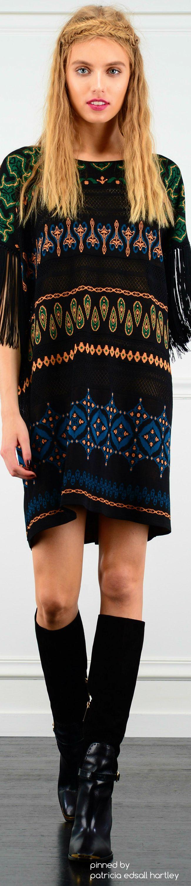 fringe sleeve tribal western shift dress #Unique_Boho_Style