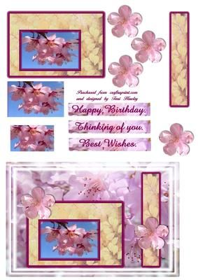 A bright fresh card to send best wishes, easy to make card a mix of pyramid ans step by step.  Has labels for happy birthday, thinking of you and best wishes, enjoy.