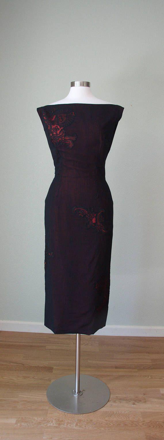 1950s Helena Barbieri Elegant Grecian Sheath Gown with Lace