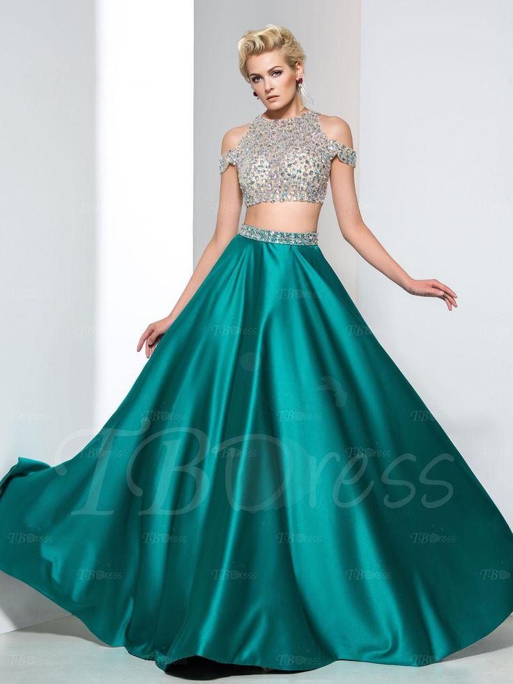A-Line Two-Piece Beaded Zipper-Up Long Prom Dress : Tbdress.com