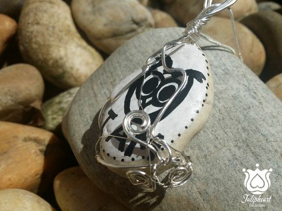 Wisdom symbol, Hand Painted, Wire Wrapped Stone Pendant, Owl painted stone, Necklace, Boho Jewelry