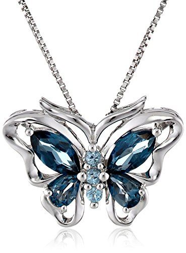 """Sterling Silver Swiss and London Blue Topaz Butterfly Pendant Necklace, 18"""""""
