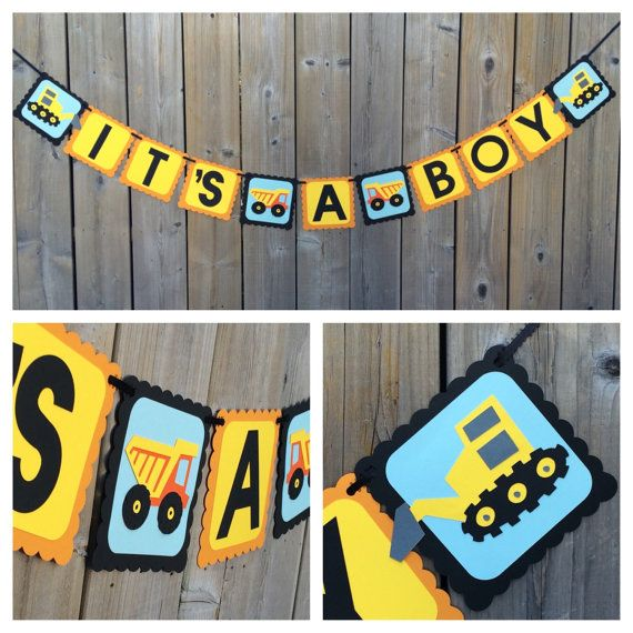 Hey, I found this really awesome Etsy listing at https://www.etsy.com/ca/listing/286486357/its-a-boy-construction-themed-banner