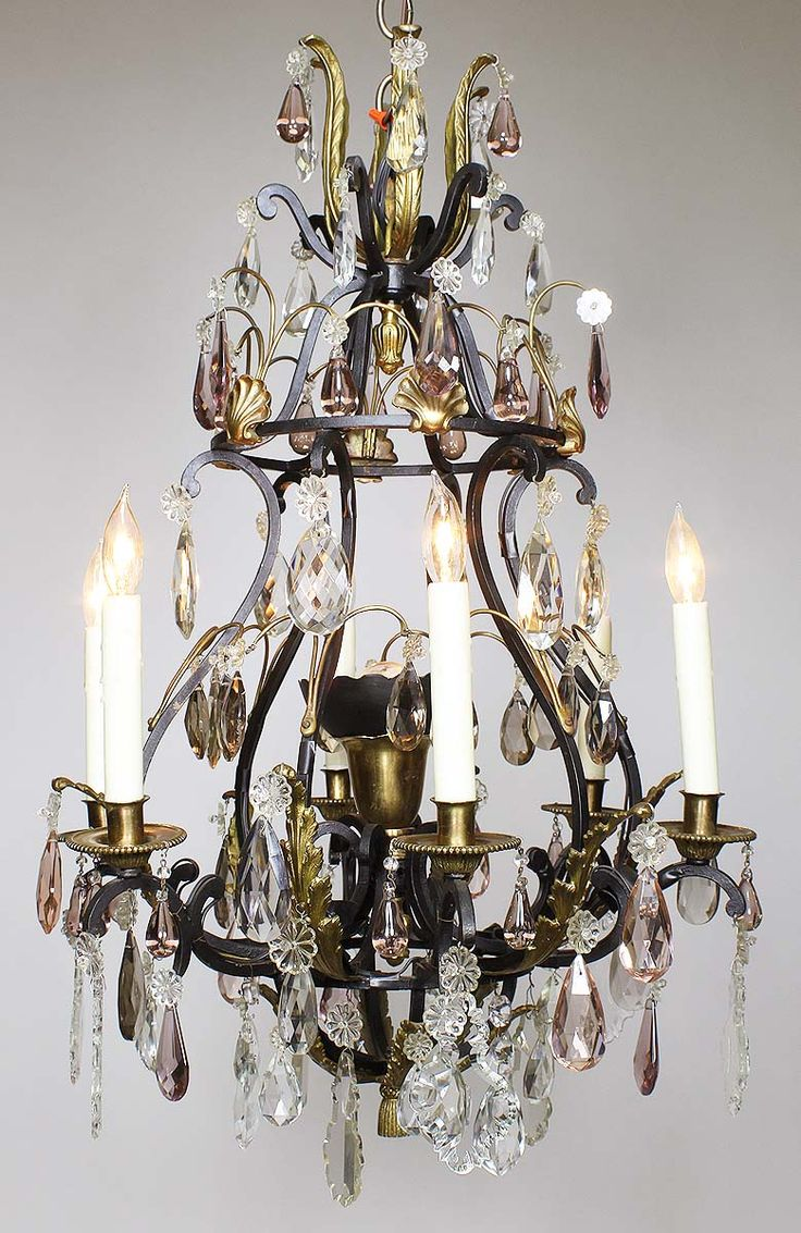 433 best antiques images on pinterest 19th century china and a french 19th20th century louis xv style wrought iron and bronze seven light color crystal cut glass chandelier the black painted iron frame with six arubaitofo Gallery