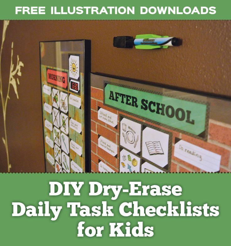 FREE ILLUSTRATION DOWNLOADS and DIY tutorial on how to make dry-erase daily routine checklist organizer for kids - ADHD friendly