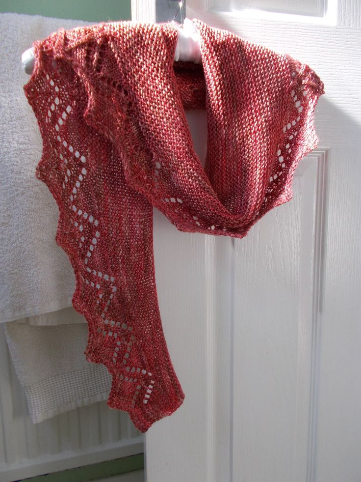 Lacy scarf knitted from one 100gram skein of Perran Yarn 4ply merino tencel in shdae Chilli Roast by Sue Harlow. Looks fabulous and apparently feels gorgeous too!
