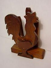 FREE SHIP! Vintage Wood Rooster Mail Letter Napkin Holder Farmhouse Folk Art