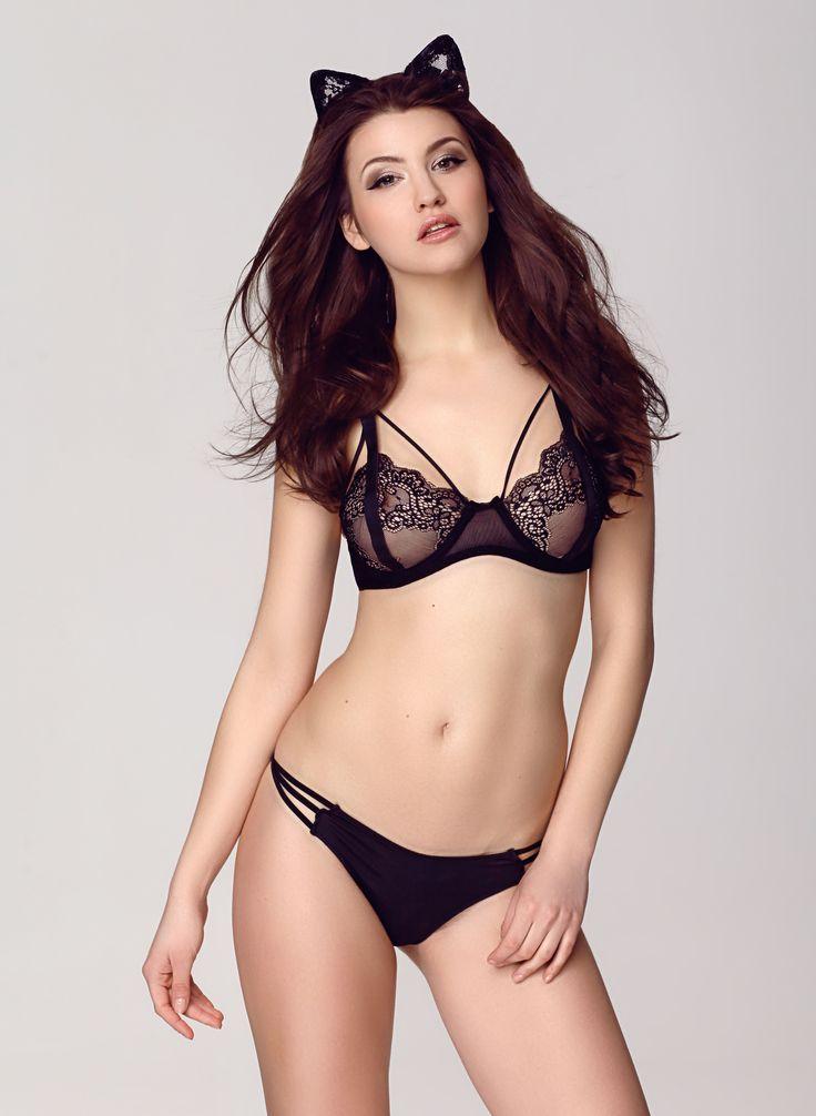 Stanik Anya, Lingerie, Sexy, Lace, Girl, Woman, Black lingerie, Woman, Brunette, Bra