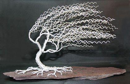 Windswept Willow Tree, Wire Sculpture, Wire Art, Plum Slate, Aluminium Wire Tree,