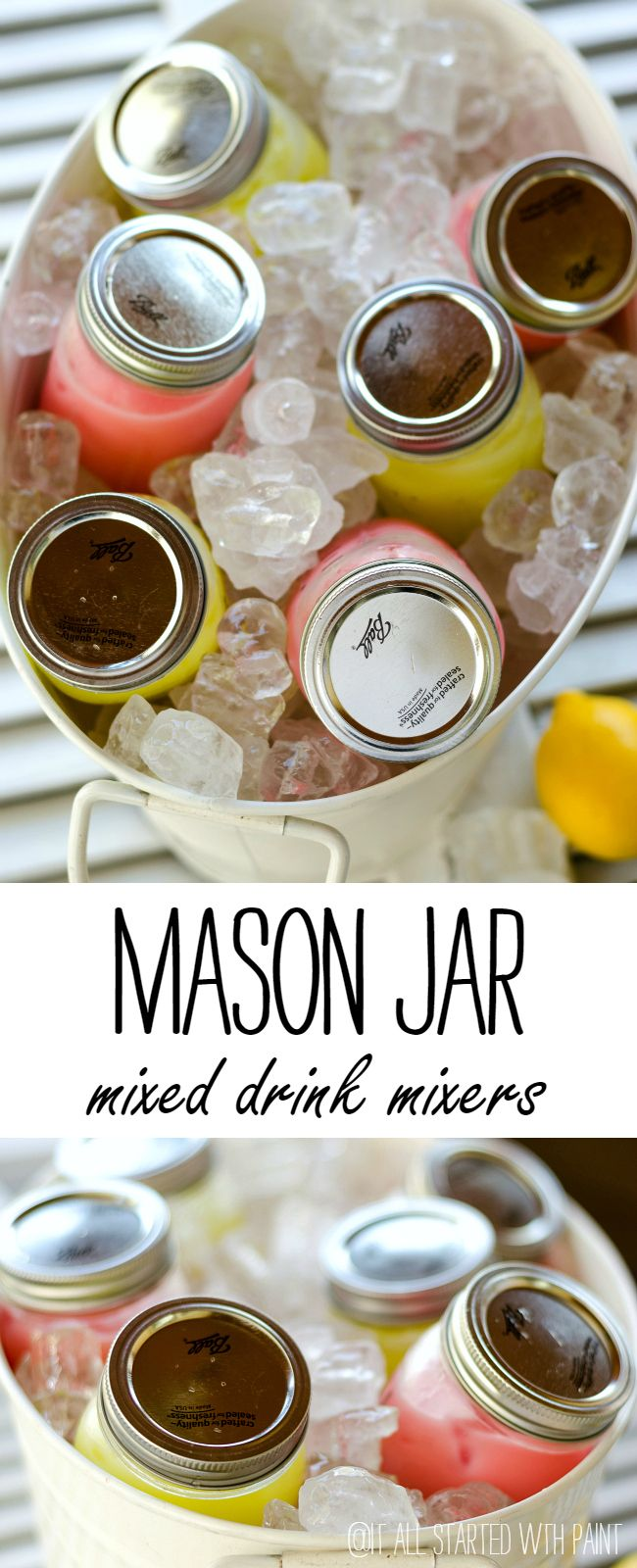 Easy mixed drink preparation and serving idea for summer. Simply put all ingredients in mason jars and put on ice. Guests just need to give the jar a few shakes and enjoy!