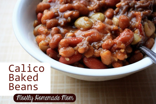 Calico Baked Beans - great for Memorial Day cookouts! www.mostlyhomemademom.com #bakedbeans #bbqsauce
