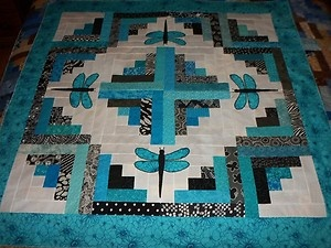 "Dragonflies Log Cabin Applique Baby Wall Quilt Top (turquoise/black) 45"" X 45"" 