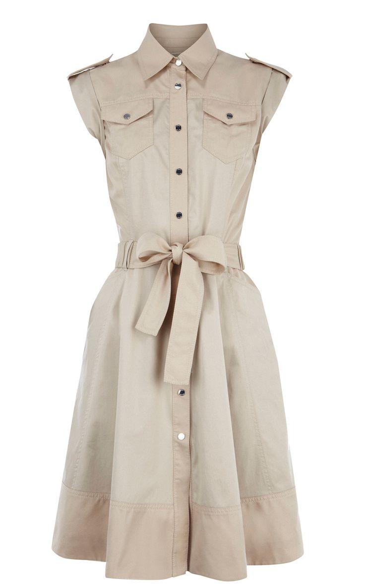 Karen Millen Soft Safari Dress Neutral ,fashion Karen Millen Solid Color Dresses outlet