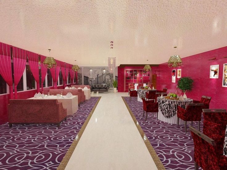 Fascinating red curtain restauran design in wonderful large interior with pink painting wall also purple pattern rug on marble floor as well fabric dining sofa also chandelier hang in white art ceiling