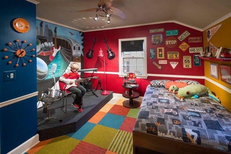 déco chambre enfant avec un lit et coussins et peinture rouge