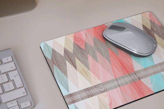 MOUSE PAD geometric coral wood print Mousepad by DeWadaSTORE