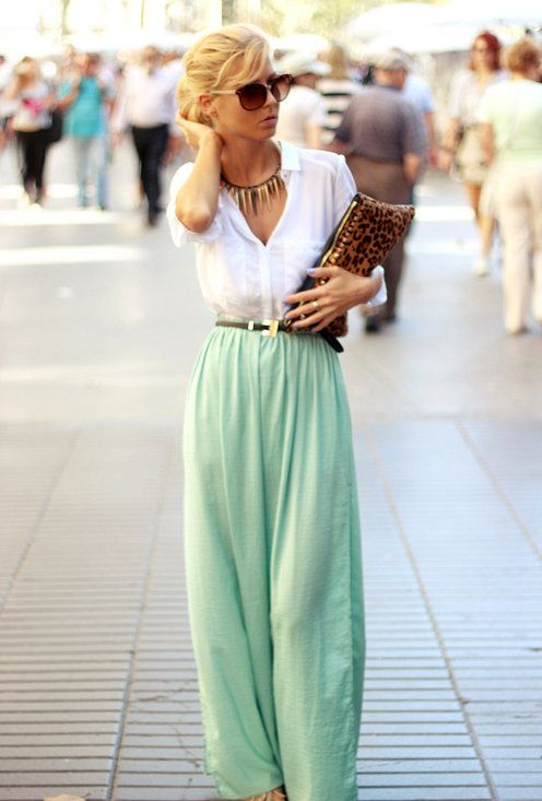 High waisted maxi skirt and button up white shirt