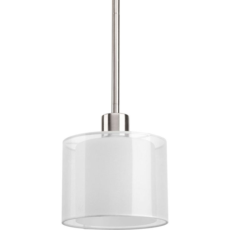 Shop Progress Lighting Invite 6.5-in W Brushed Nickel Mini Pendant Light with Fabric Shade at Lowes.com