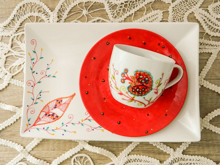 Christmas tea set, cup and serving dish handpainted with leaves and flowers.