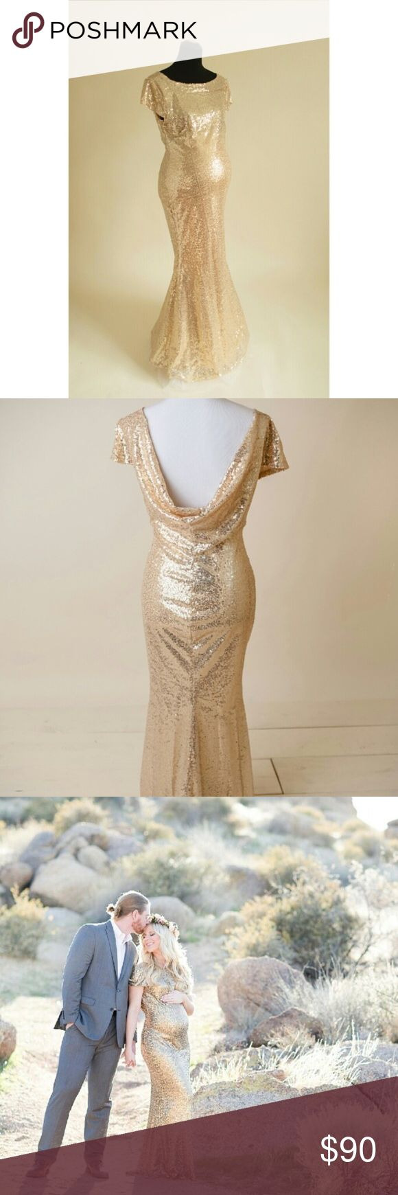 Gold maternity gown Brand new gold sequin maternity gown. Medium size. Dresses Maxi